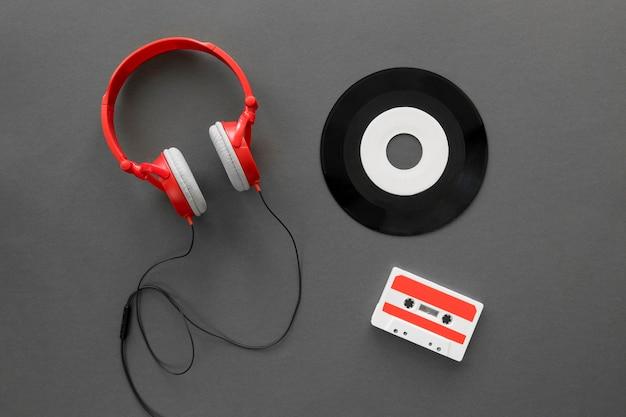 Vue de dessus du beau concept de musique