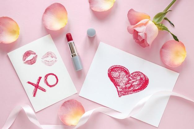 Vue de dessus du beau concept de la saint-valentin