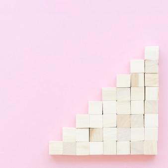 Vue de dessus du bloc en bois avec espace copie