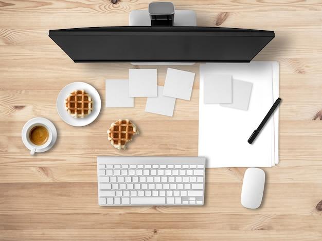Vue de dessus du bureau avec des documents et beaucoup de notes.