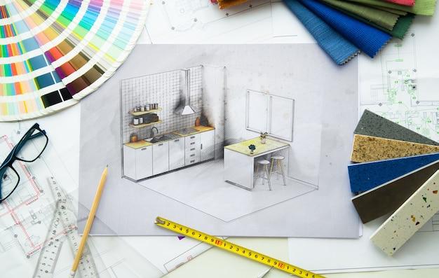Vue de dessus du bureau de projet de cuisine design d'intérieur