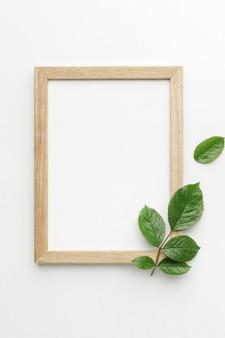 Vue de dessus du cadre avec le concept de feuilles