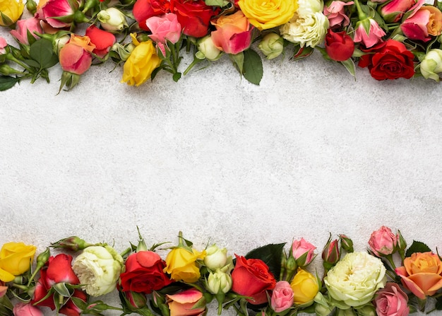 Vue de dessus du cadre de fleurs colorées