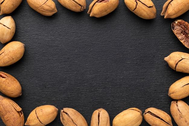 Vue de dessus du cadre de graines avec espace copie