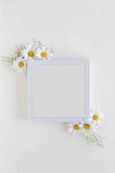 Vue de dessus du cadre photo blanc décoré avec des fleurs de marguerite blanche sur fond blanc