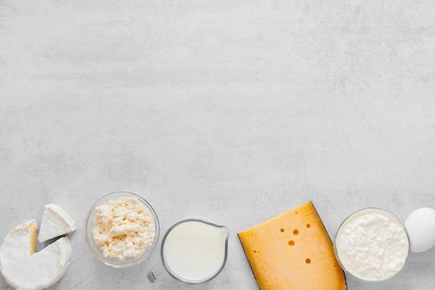 Vue de dessus du cadre des produits laitiers