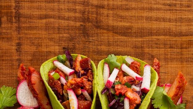 Vue de dessus du cadre de tacos avec copie-espace