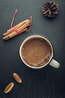 Vue De Dessus Du Chocolat Chaud Photo Premium