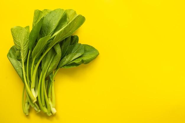 Vue de dessus du chou vert cantonais frais vert
