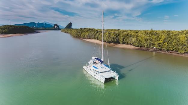 Vue de dessus du ciel de la longue rivière et de la forêt de mangroves.