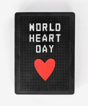 Vue de dessus du coeur pour la journée mondiale du coeur