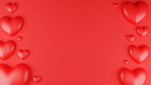 Vue de dessus du coeur rouge avec cadre sur fond rouge. concept de la saint-valentin. illustration de rendu 3d.