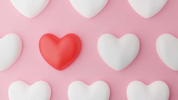 Vue de dessus du coeur rouge et coeur blanc et table rose. concept de la saint-valentin. illustration de rendu 3d.