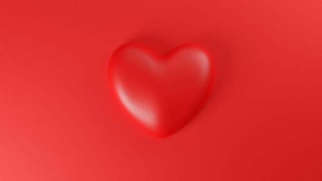 Vue de dessus du coeur rouge sur fond rouge. concept de la saint-valentin. illustration de rendu 3d.