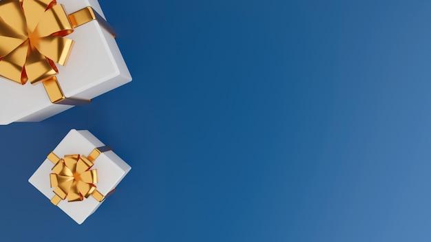 Vue de dessus du coffret cadeau blanc fermé avec ruban d'or blanc sur bleu