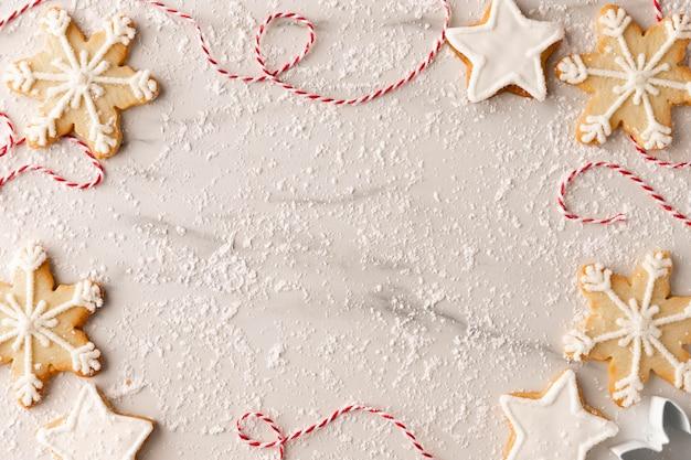 Vue de dessus du concept d'arrangement de cookies