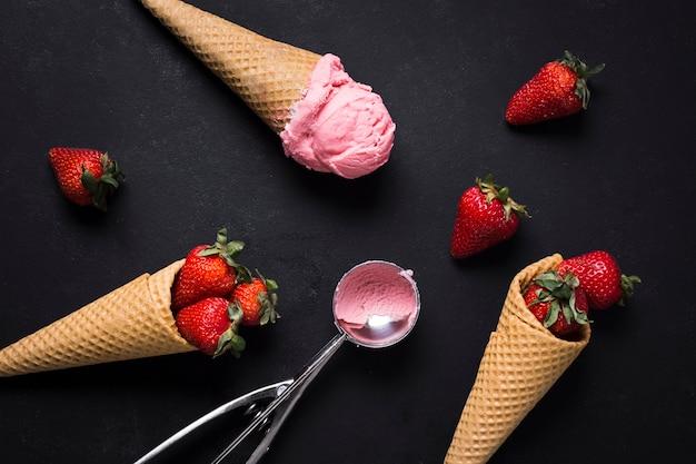 Vue de dessus du concept de chocolat aux fraises