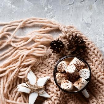 Vue de dessus du concept de chocolat chaud