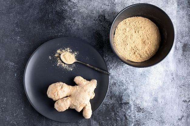 Vue de dessus du concept de condiment de gingembre