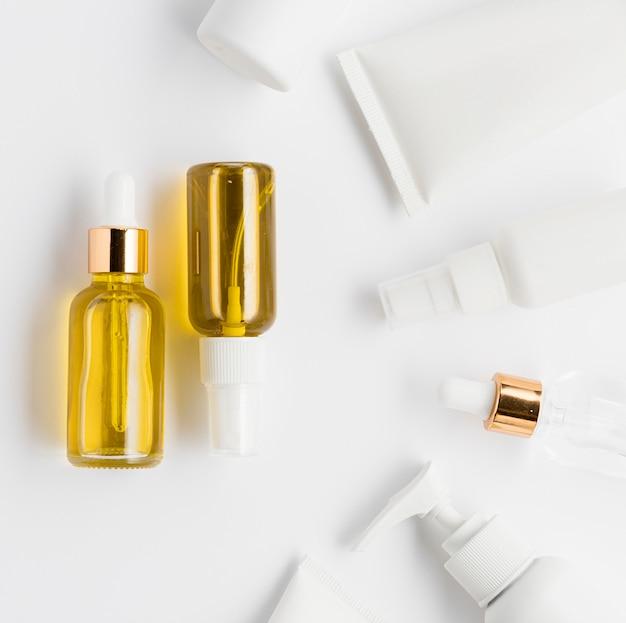 Vue de dessus du concept de cosmétiques naturels
