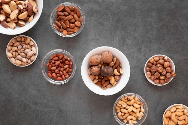 Vue de dessus du concept de délicieuses noix