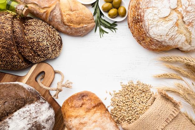 Vue de dessus du concept de disposition du pain