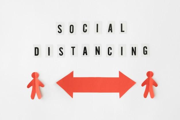 Vue de dessus du concept de distanciation sociale