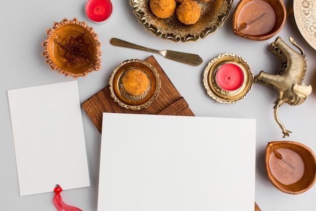 Vue de dessus du concept de diwali avec espace copie