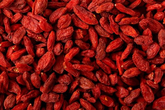 Vue de dessus du concept de fruits secs rouges