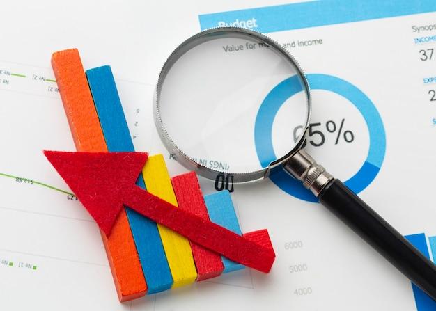 Vue de dessus du concept graphique et statistiques