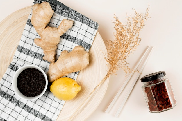 Vue de dessus du concept d'ingrédient naturel