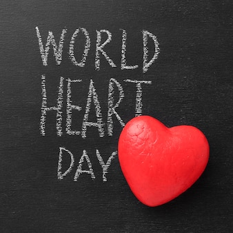 Vue de dessus du concept de la journée mondiale du cœur