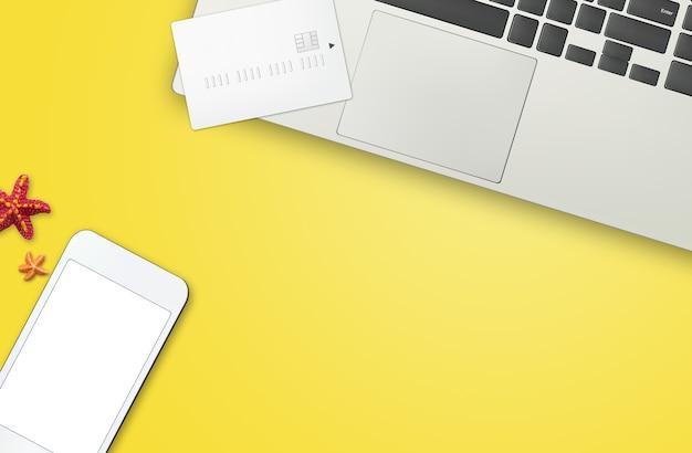 Vue de dessus du concept de magasinage en ligne. vue de dessus avec l'espace de copie.