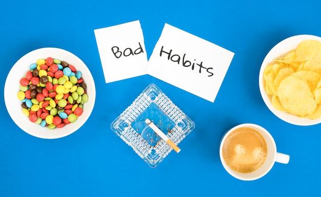 Vue de dessus du concept de mauvaise habitude