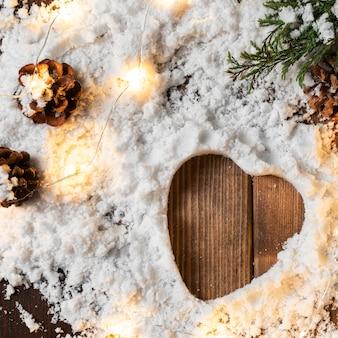 Vue de dessus du concept de neige d'hiver