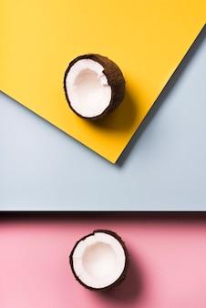 Vue de dessus du concept de noix de coco