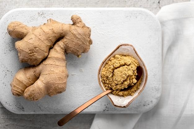 Vue de dessus du concept de nourriture au gingembre
