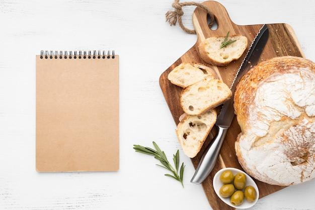 Vue de dessus du concept de pain avec espace copie