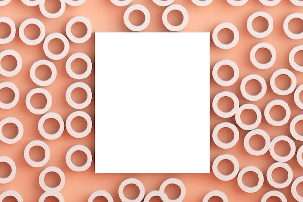 Vue de dessus du concept plat laïc carré du cadre blanc maquette et fond rose millénaire pastel dans un style minimaliste, modèle pour le lettrage, le texte ou la conception.