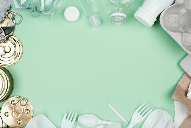 Vue de dessus du concept de recyclage