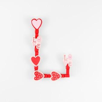 Vue de dessus du concept de la saint-valentin