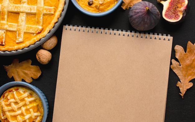 Vue de dessus du concept de thanksgiving avec espace copie