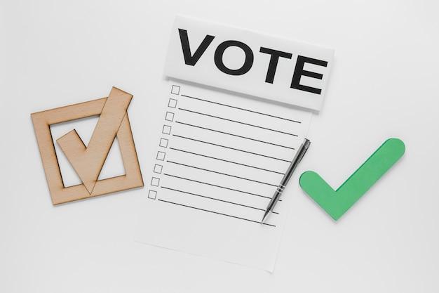 Vue de dessus du concept de vote aux élections