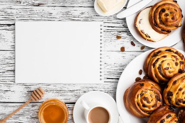 Vue de dessus du délicieux concept de pâtisserie