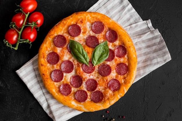Vue de dessus du délicieux concept de pizza