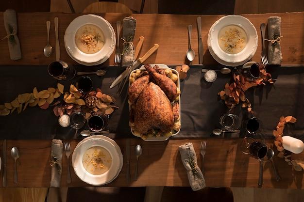 Vue de dessus du délicieux repas de thanksgiving