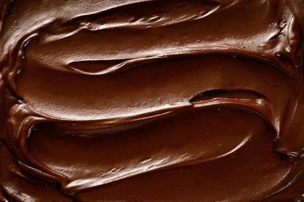 Vue de dessus du fond de la surface du chocolat chaud