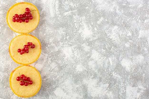 Vue de dessus du gâteau aux canneberges délicieux et parfaitement cuit sur le gâteau de bureau léger biscuit sucré