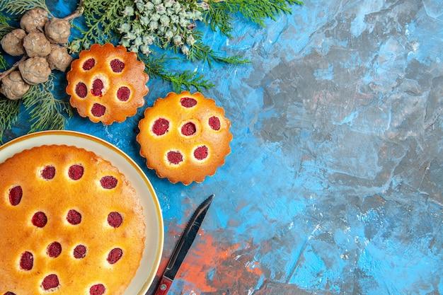Vue de dessus du gâteau aux framboises avec des branches et un couteau sur une surface bleue