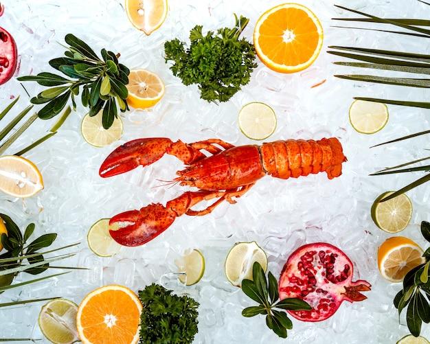 Vue de dessus du homard rouge placé sur de la glace entouré de tranches de fruits